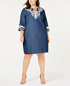 ECI Plus Size Cotton Embroidered Chambray Shift Dress