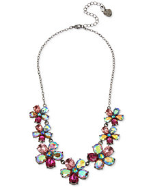 "Betsey Johnson Hematite-Tone Crystal Flower Statement Necklace, 16"" + 3"" extender"