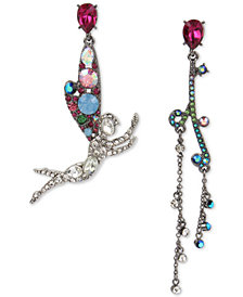 Betsey Johnson Two-Tone Crystal Fairy Mismatch Drop Earrings
