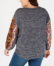 Style & Co Plus Size Colorblocked Bubble-Sleeve Top, Created for Macy's