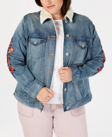 Style & Co Plus Size Embroidered Denim Trucker Jacket, Created for Macy's