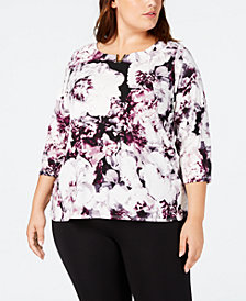 Calvin Klein Plus Size Floral-Print Hardware-Trim Top