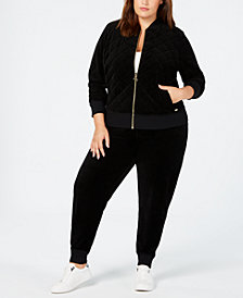 Calvin Klein Plus Size Velour Bomber Jacket and Jogger Pants