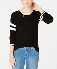 Hippie Rose Juniors' Scoop-Neck Varsity-Stripe Sweater