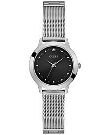 GUESS Women's Diamond-Accent Stainless Steel Mesh Bracelet Watch 30mm