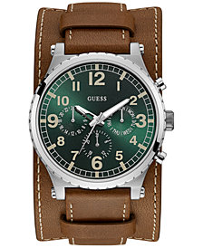GUESS Men's Brown Leather Cuff Strap Watch 46mm