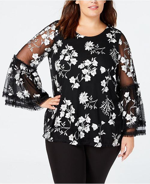 6ae526069a8f4 ... Alfani Plus Size Embroidered Mesh Top