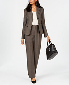 Le Suit Two-Button Melange Pantsuit