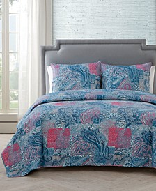 Ava Paisley 3-Pc. Full/Queen Quilt Set