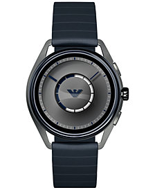Emporio Armani Men's Blue Rubber Strap Touchscreen Smart Watch 43mm