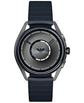 6b8a8f568ebde Emporio Armani Men s Blue Rubber Strap Touchscreen Smart Watch 43mm