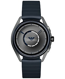 Emporio Armani Men's Blue Rubber Strap Touchscreen Smart Watch 43mm
