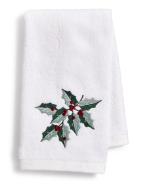 Image of Martha Stewart Collection Holly Embroidered Cotton 2-Pc. Fingertip Towel Set, Created for Macy's Bedding