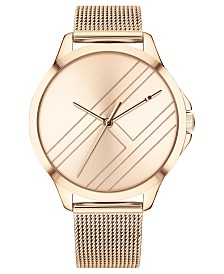 Tommy Hilfiger Women's Carnation Gold-Tone Mesh Bracelet Watch 38mm Created for Macy's
