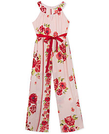 Rare Editions Big Girls Floral-Print Halter-Neck Jumpsuit