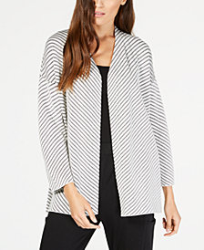 Eileen Fisher Organic Cotton Striped Open-Front Cardigan, Regular & Petite