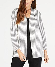 Eileen Fisher Organic Cotton Striped Open-Front Cardigan, Regular & Petite