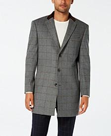 Men's Slim-Fit Gray Windowpane with Velvet Trim Overcoat