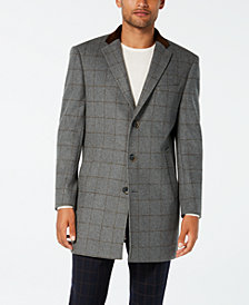 Tallia Men's Slim-Fit Gray Windowpane with Velvet Trim Overcoat