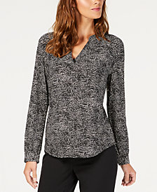 Anne Klein Printed Split-Neck Blouse