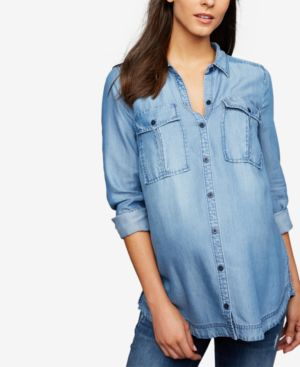 Image of A Pea In The Pod Maternity Chambray Shirt