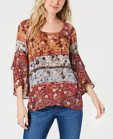 Style & Co Petite Asymmetrical-Hem Top, Created for Macy's