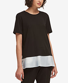 DKNY Pleated-Hem T-Shirt, Created for Macy's
