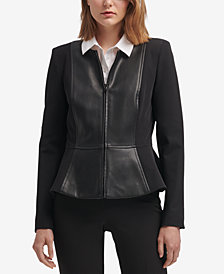 DKNY Mixed-Media Peplum Jacket, Created for Macy's