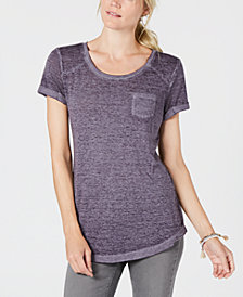 Style & Co Knot-Hem Pocketed T-Shirt, Created for Macy's