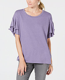 Style & Co. Ruffle-Sleeved Top, Created for Macy's