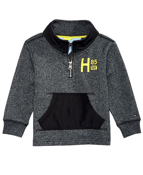 c77f077186d276 Tommy Hilfiger Baby Boys Mixed-Media Quarter-Zip Sweatshirt ...