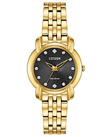 Eco-Drive Women's Jolie Diamond-Accent Gold-Tone Stainless Steel Bracelet Watch 30mm
