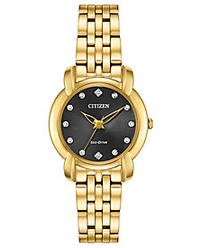 Citizen Eco-Drive Women's Jolie Diamond-Accent Gold-Tone Stainless Steel Bracelet Watch 30mm