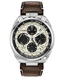 Citizen Eco-Drive Men's Chronograph Promaster Tsuno  Racer Brown Leather Strap Watch 45mm - A Limited Edition