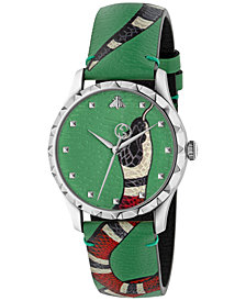 Gucci Unisex Swiss Le Marché Des Merveilles Pastel Soft Green Leather Strap Watch 38mm