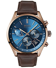 BOSS Hugo Boss Men's Chronograph Grand Prix Brown Leather Strap Watch 44mm