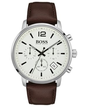 HUGO BOSS Attitude Stainless Steel & Brown Leather Strap Chronograph Watch in Parchment