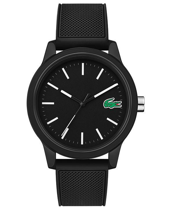 Lacoste Men's 12.12 Black Silicone Strap Watch 42mm