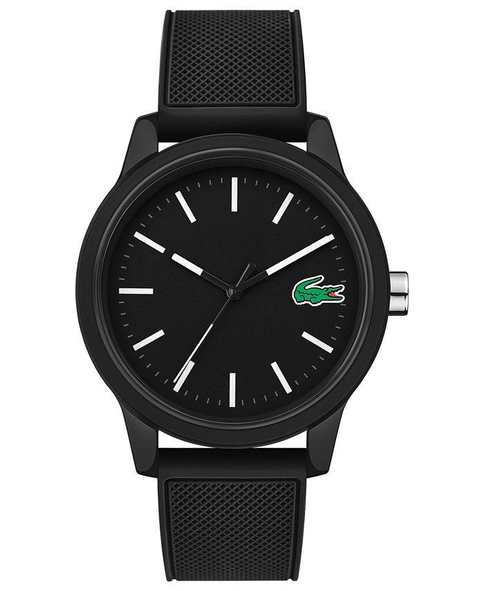 Lacoste - Men's 12.12 Black Silicone Strap Watch 42mm