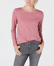 Style & Co Long-Sleeve Crewneck Top, Created for Macy's
