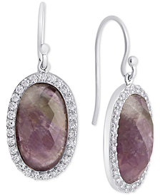 Rose Quartz (9-3/8 mm) & Cubic Zirconia Drop Earrings in Sterling Silver (Also in Labradorite, Aqua Quartz & Amethyst)