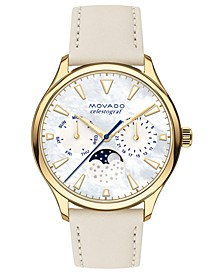 Women's Swiss Heritage Series Celestograf Moonphase Beige Leather Strap Watch 36mm
