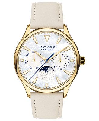 Women's Swiss Heritage Series Celestograf Moonphase Beige Leather Strap Watch 36mm by Movado