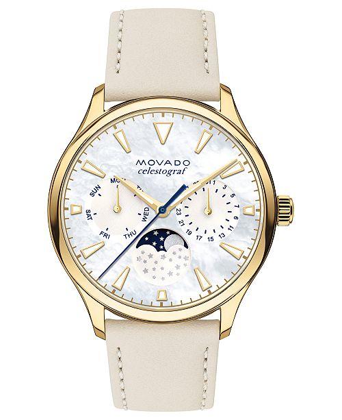 Movado Women's Swiss Heritage Series Celestograf Moonphase Beige Leather Strap Watch 36mm