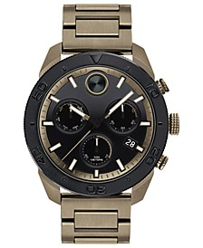 Men's Swiss Chronograph BOLD Khaki Stainless Steel Bracelet Watch 44.5mm