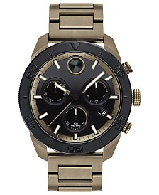 Movado Men's Swiss Chronograph BOLD Khaki Stainless Steel Bracelet Watch 44.5mm
