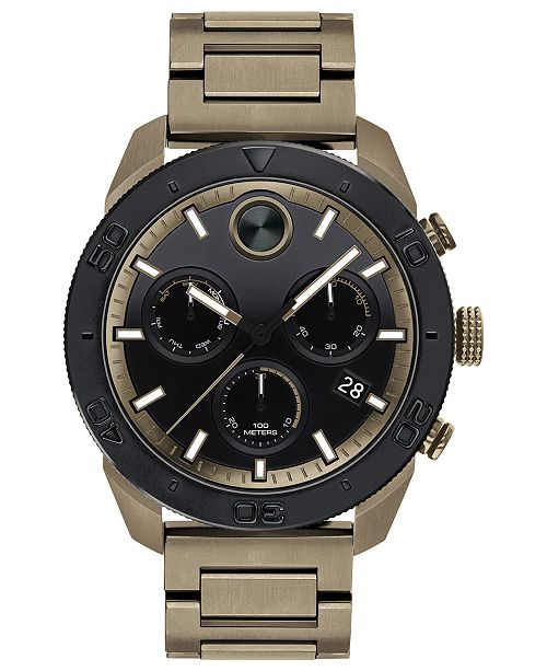 Movado Men's Swiss Chronograph BOLD Khaki Stainless Steel Bracelet Watch 44.5mm