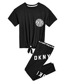DKNY Big Girls Tie-Front T-Shirt & Logo Leggings