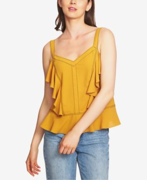 1.state Ruffled Contrast-Stitch Camisole