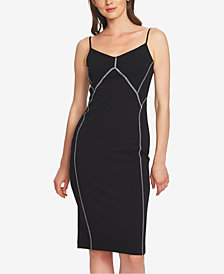 1.STATE Contrast-Stitch Slip Dress